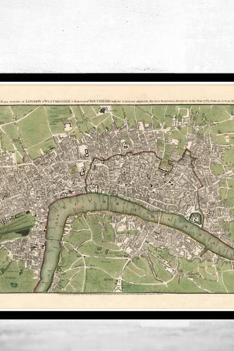 Old map of London 1763