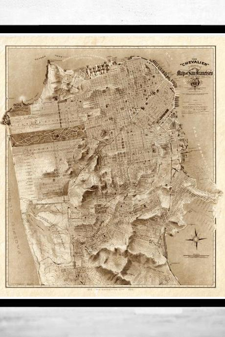 Old Map of San Francisco 1912 The Chevalier Map SEPIA