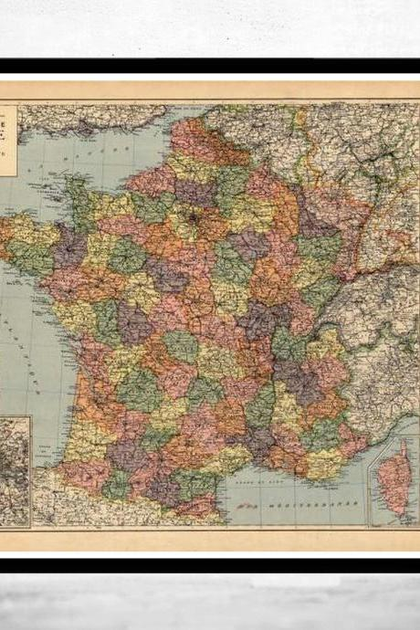 Old Map of France 1919