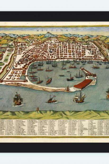 Old Map of Messina 1590 Antique Vintage Italy