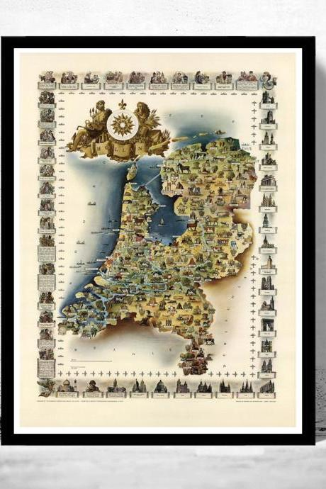 Vintage Map of The Netherlands Hollandia Holland