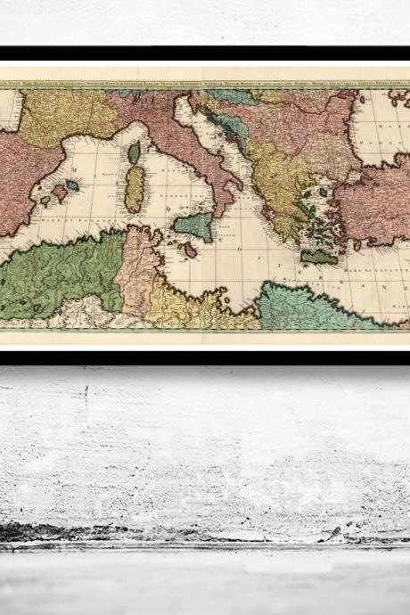 Old Map of Mediterranean Sea 1700
