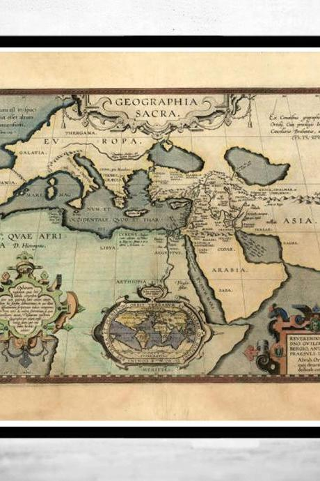 Old Map of Mediterranean Sea 1590