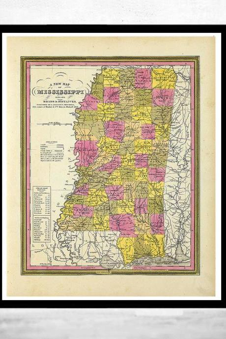 Old Map Mississippi 1846 United States of America