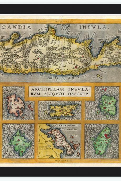 Old Map of Greek Islands Greece 1584