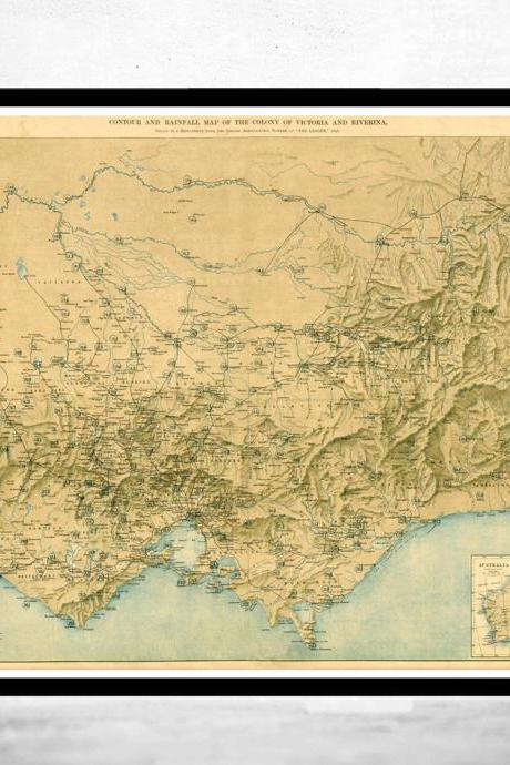 Old Map of Victoria Australia Oceania 1896