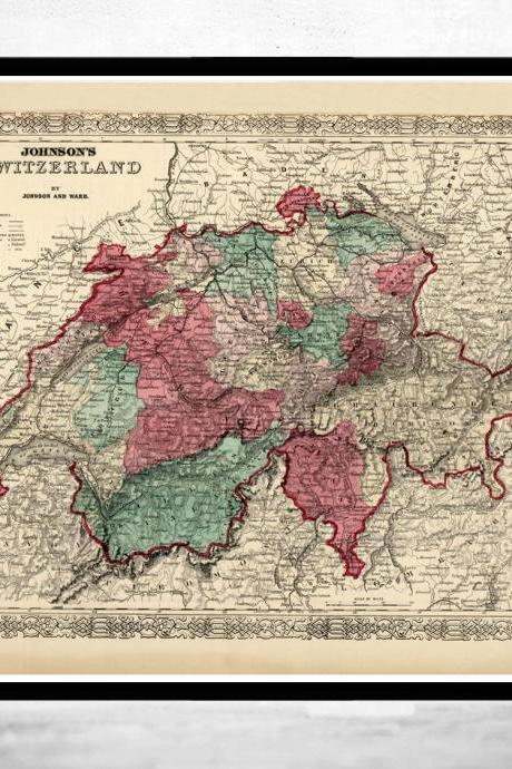 Old Map of Switzerland Antique Schweiz 1865