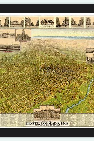 Denver Old Map Panoramic View 1908 , Colorado United States