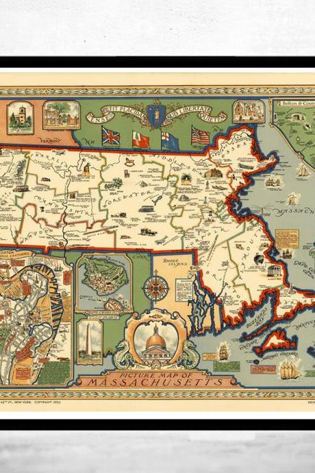 Old Map of Massachusetts 1935, Boston, Salem, Worcester,Lowell, Springfield