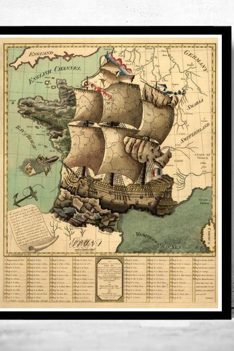 Old Map of France represented under the form of a ship 1796