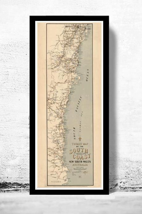 New South Wales 1912 old map Tourist Map Australia