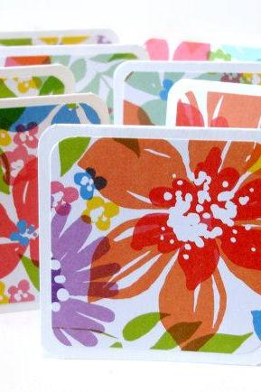 Handmade mini cards watercolor floral mini note cards Set of 8 lunchbox notes