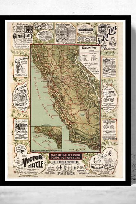 Vintage Map of California roads for cyclers 1875