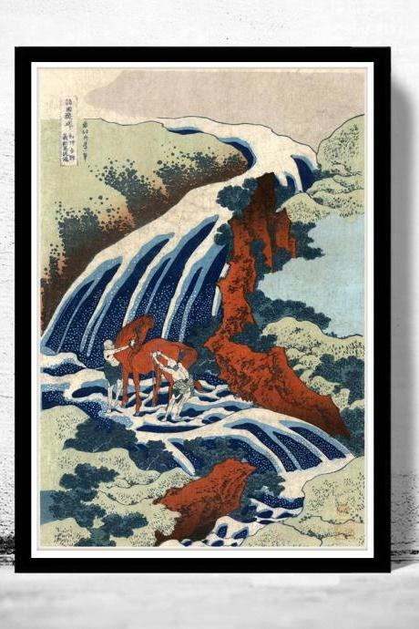 Hokusai Yoshitsune Umarai waterfall at Yoshino in Washu, 1833