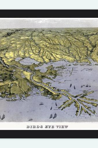 Vintage Map of Mississippi River, Louisiana, Alabama and Florida Aerial view United States 1861