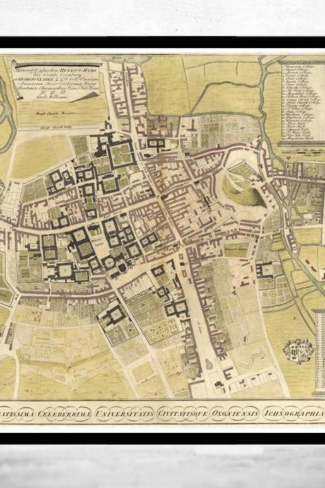 Old Map of Oxford with legends 1733, England United Kingdom