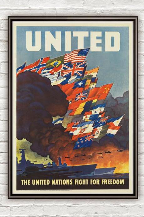 Vintage War Poster United Nations for Freedom 1942