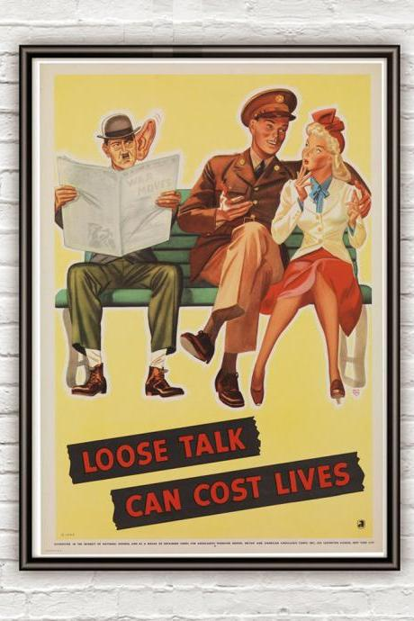 Vintage War Poster loose talk can cost lives (4) 1942