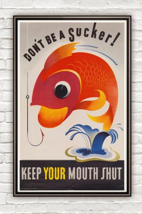 Vintage War Poster keep your mouth shut 1944