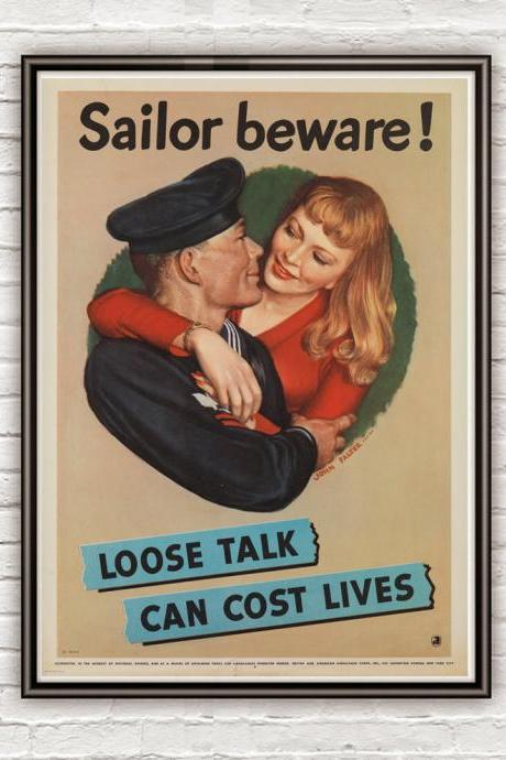 Vintage War Poster sailor beware 1942