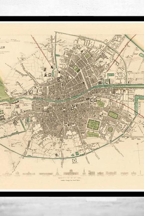 Vintage Map of Dublin, Ireland 1853 Antique Vintage