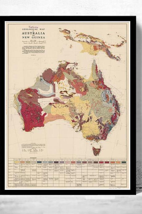 Old Map Australia Geological Vintage Map
