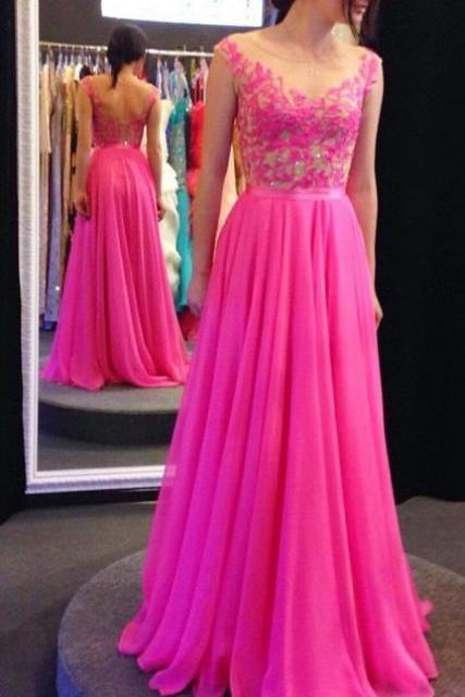Boat neck sleeveless hot pink chiffon and lace A line floor length prom dress,long evening party dress