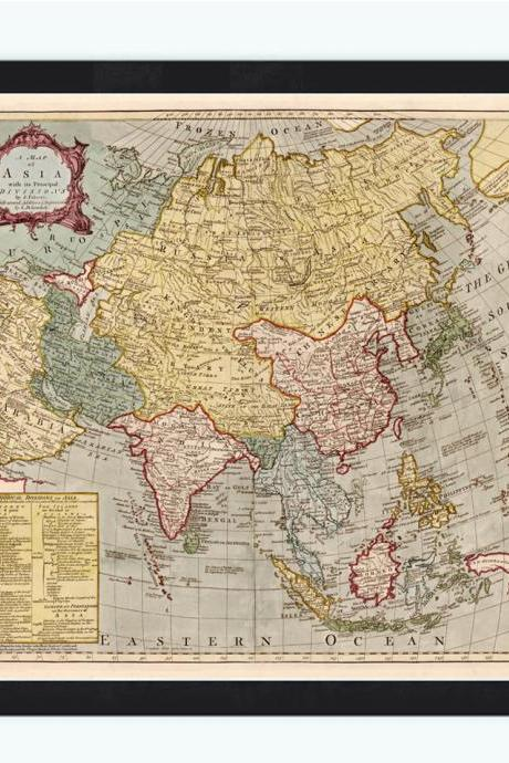 Old Map of Asia, India, China & South East Asia, sec XVIII, Asia Antique map