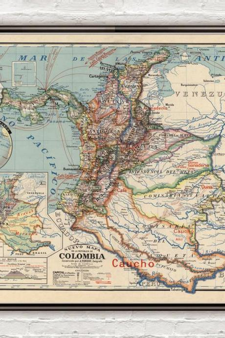 Old Map of Colombia 1920