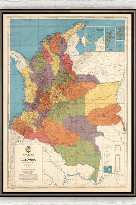 Old Map of Colombia