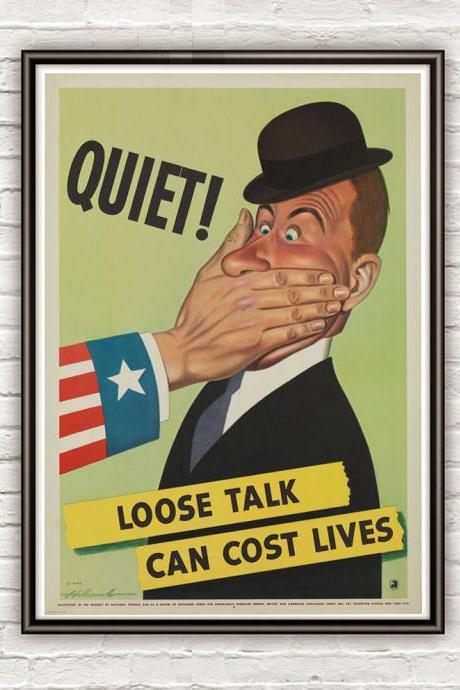 Vintage War Poster loose talk can cost lives (3) 1942