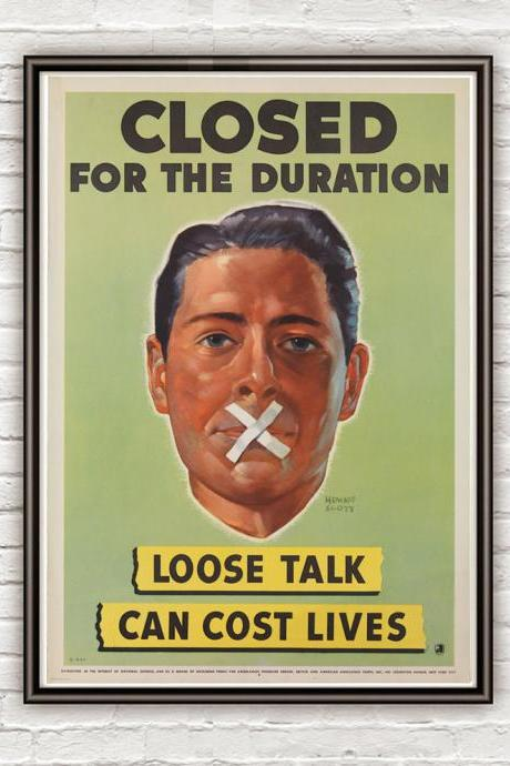 Vintage War Poster loose talk can cost lives (5) 1942