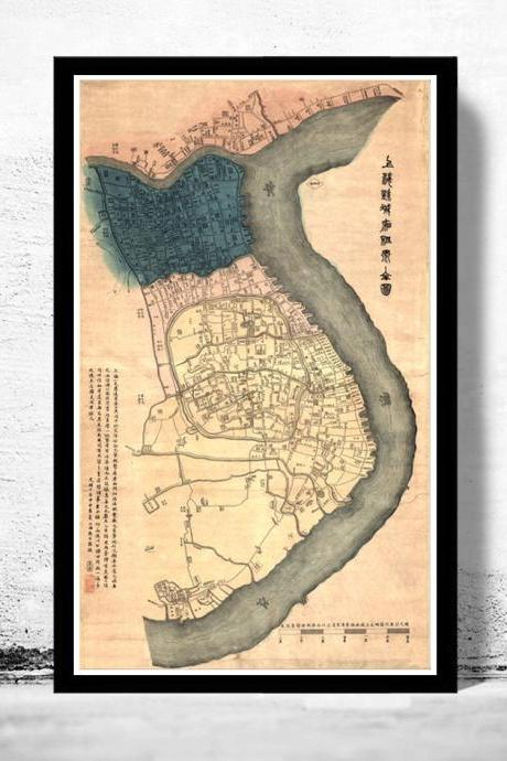 Vintage Map of Shanghai 1884 China