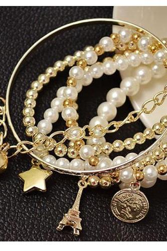 Elegant Stackable Paris Charmed Pearl Bracelet