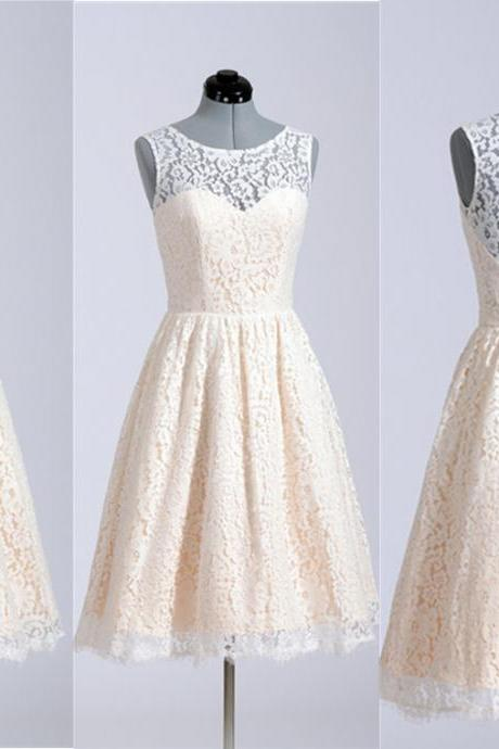 2015 Hot Sale Ivory Lace Knee Length Bridesmaid Dresses Plus Size For Weddings Custom Tank Top Zipper Charming Maid Of Honor Dress