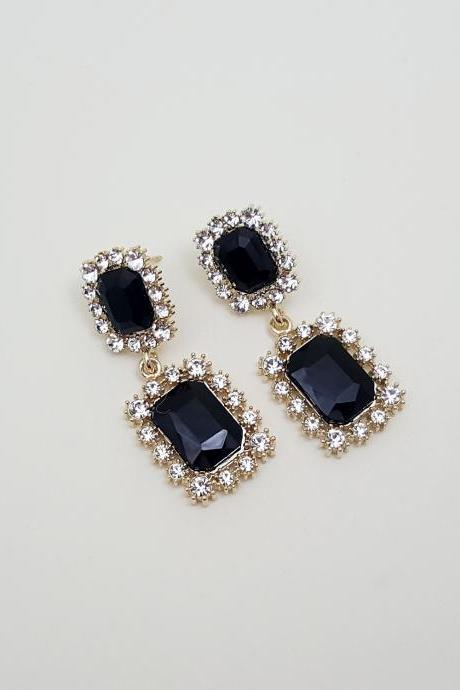 Rectangle black Cubic Zirconia Earrings,Swarovski Rhinestone Stud Earrings, Special Occasion Jewelry,Bridal Stud Earrings