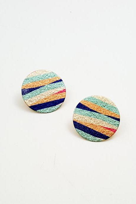 Abstract pattern printing circle Stud Earrings,Luxe Glitter Circle Earrings