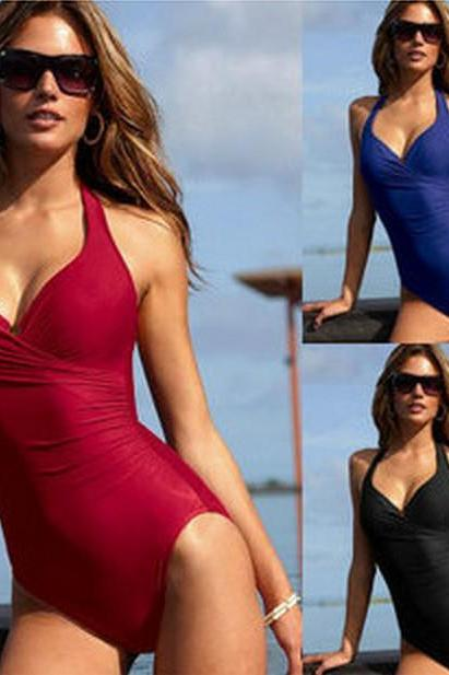 Ladies one piece swimwear dress retro swimsuit for vintage beachwear sexy swimming Suit