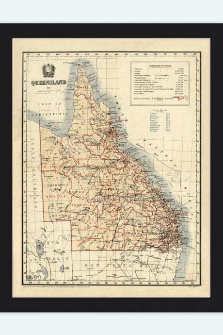 Old Map of Queensland Australia 1911 Vintage Map