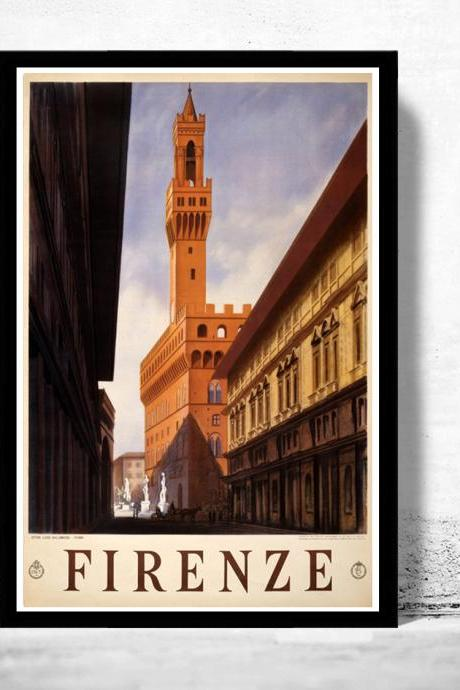 Vintage Poster of Florence Firenze Italy Italia 1938 Tourism poster travel