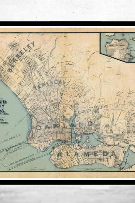 Old Map Oakland California 1884