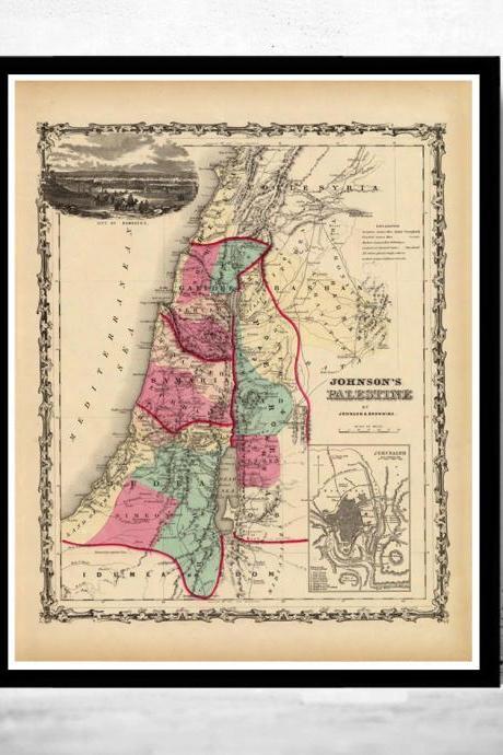 Old Map of Palestine Jesus, 1860, Middle East, Religious