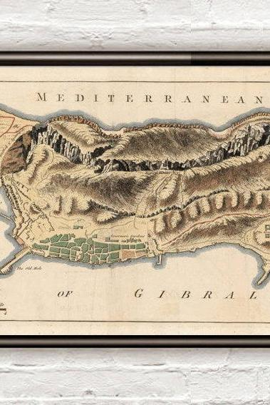 Old Map of Gibraltar Spain 1726