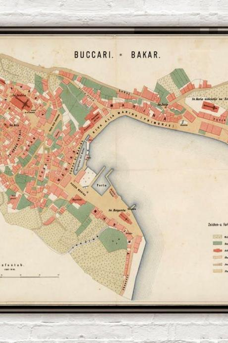 Old Map of Bakar 1861 Croatia