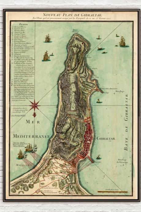 Old Map of Gibraltar Spain 1727