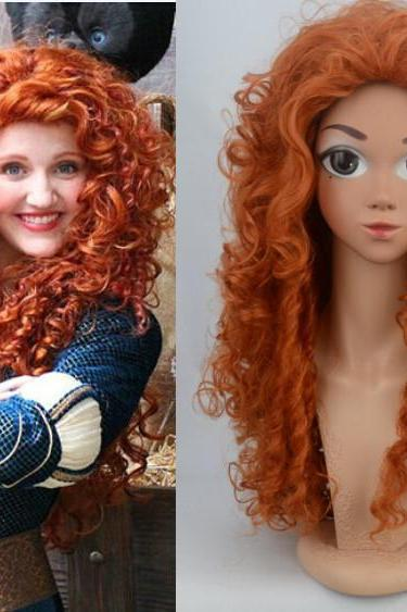 Brave Movie Disguise Pixar Merida Costume Wig Cosplay Party Hair Wig