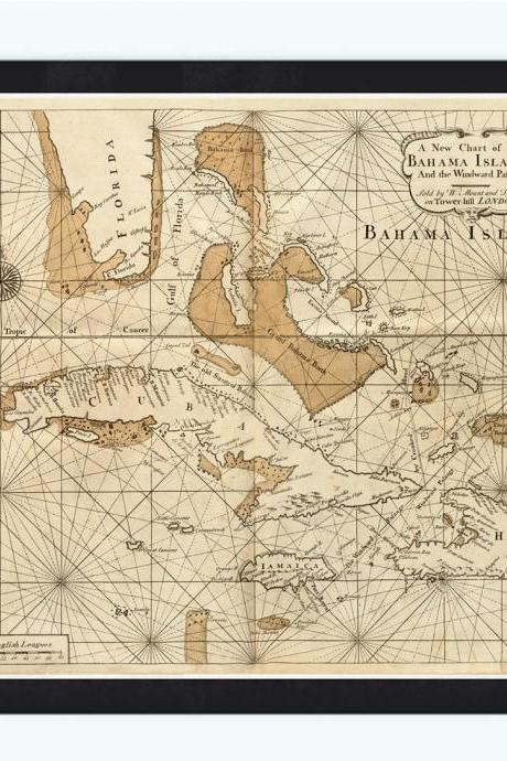 Old Map of Bahamas, Bahama Islands 1737