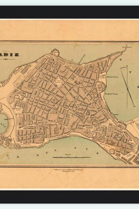 Old Map of Cadiz, Spain 1800