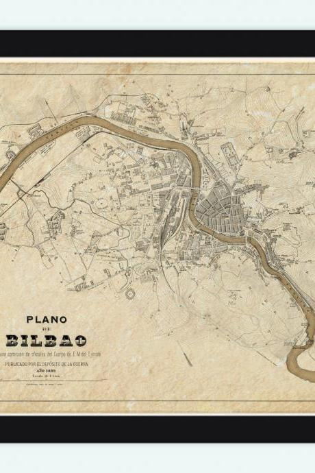 Old Map of Bilbao 1899, Spain