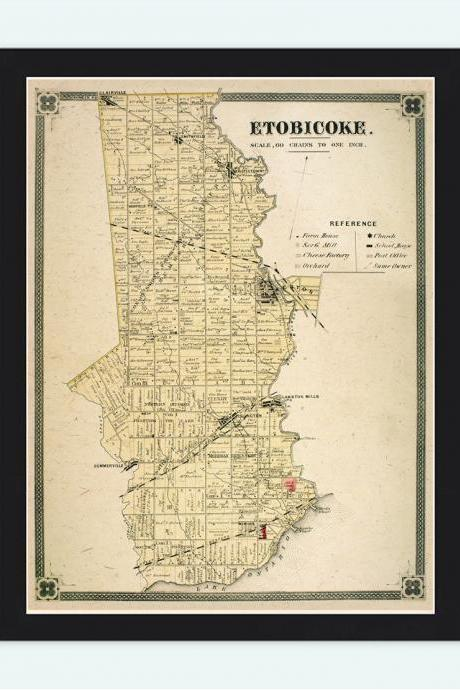 Old Map of Etobiocoke Toronto Canada 1897